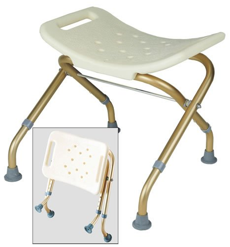 Bath Bench - Aluminum blow molded folding bath seat without back rest, adjustable legs and height adjustment from 14 1/2'' - 15 1/2''. Folds for easy transport.