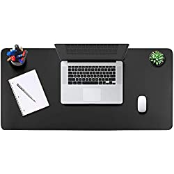 "Office Desk Pad Mouse Pad 35.4"" x 17"", PU Leather Desk Mat Blotters Protecter with Comfortable Writing Surface, Black"