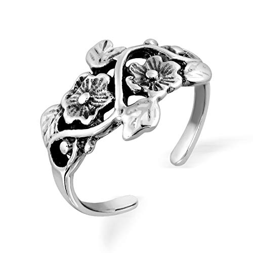 WithLoveSilver 925 Sterling Silver Hibiscus Plumeria Flower Bud Toe Ring (Hibiscus Silver Ring)