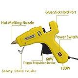 KMC 60/100W Hot Glue Gun with 16pcs Glue Sticks, Dual Power High Temp Heavy Rapid Heating Technology, Transparent Glue Gun Sticks for Arts & Crafts, Sealing and Quick Repairs