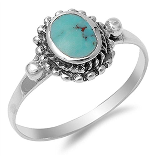 (Women's Nugget Simulated Turquoise Cute Ring New .925 Sterling Silver Band Size 9)