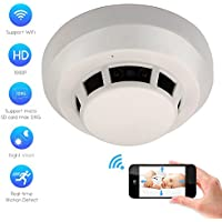 CAMXSW Wifi Spy Camera Smoke Detector HD 1080P Hidden Camera Nanny Cam Mini Video Recorder For Home Security Monitor with Motion Detection Alert Remote View Via Free APP Support Android/IOS