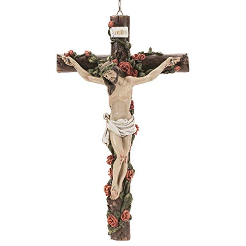 (Dicksons Cross with Rose Vine Detail Rugged Wood Look Resin Stone Hanging Wall Crucifix)