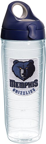 Tervis 1231057 NBA Memphis Grizzlies Primary Logo Tumbler with Emblem and Navy with Gray Lid 24oz Water Bottle, Clear by Tervis