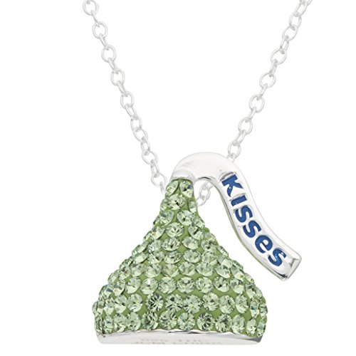 HERSHEY'S Kisses Birthstone Women's and Girls Jewelry Sterling Silver August Peridot Light Green Swarovski Crystal Pendant Necklace, 18