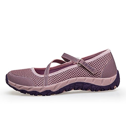H-Mastery Womens Trainers Walking Jogging Gym Fitness Lightweight Mary Janes Shoes Velcro Mesh Casual Sports Sneaker Pink BpVaSYoRnD