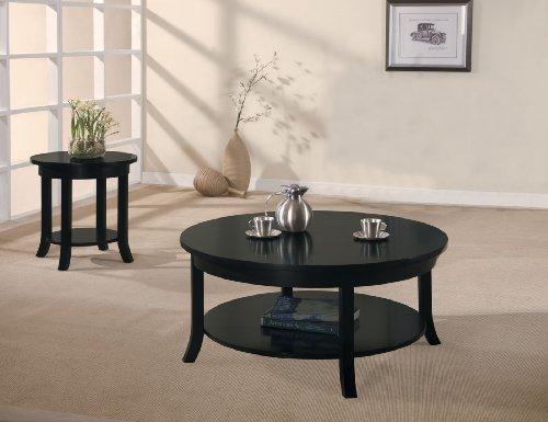 ACME Gardena Black End Table Black Round Coffee Table