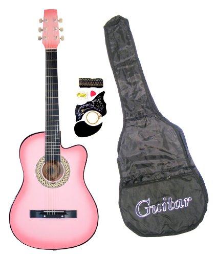 Pink Cutaway Acoustic Guitar (38