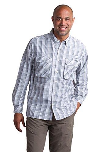 ExOfficio Men's Air Strip Macro Plaid Long Sleeve, Cement, Large (Mens Exofficio Air)