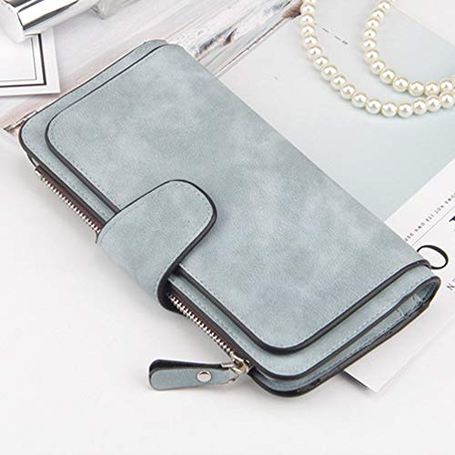 Laynos Wallet for Women Leather Clutch Purse Long Ladies Credit Card Holder Organizer Travel Purse Blue by Laynos (Image #6)