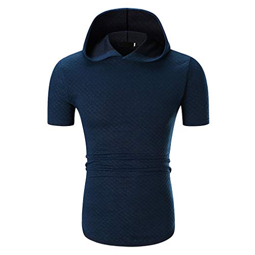 iHPH7 T-Shirt Men Short Sleeve Casual Fitted Lightweight Crew Neck Sweatshirts for Men Fashion Casual Solid Color Hoodie with Short Sleeve T-Shirt Top Blouse M Blue -