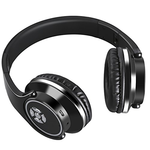Excelvan Folding Wireless Bluetooth LED Stereo Headphones Adjustable Headsets, FM Radio/ TF Card for iPhone All Android Smartphones PC Laptop MP3/MP4 Tablet Earphones (G2-Black)