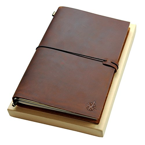 Large Leather Journal | The Wanderings Grande Refillable Travel Notebook | Perfect for Writing, Sketching, Scrapbooks, Gift for Men or Women, Travelers, Extra Large | Blank Inserts 11x7.5 inches