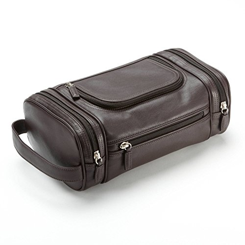 Multi Pocket Toiletry Bag - Full Grain Leather - Chocolate Brown (Chocolate Travel Charger)