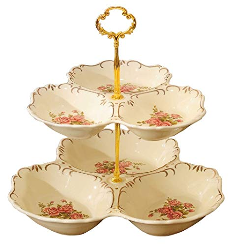 Xiao-bowl3 European-style Multi-Layer Fruit Dessert Plates Candy Cake Snack Tray Dried Fruit Holder Buffet Display Rack Living Room (Color : A)