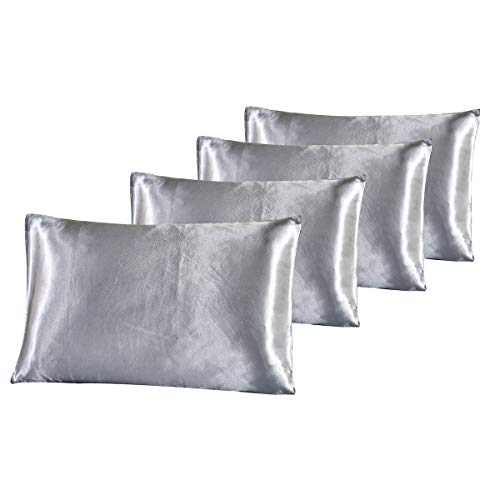 Polyester Satin Pillowcase - Vonty Luxury Classic Silky Satin Pillowcases Set of 4 for Hair and Facial Beauty Standard Size 20