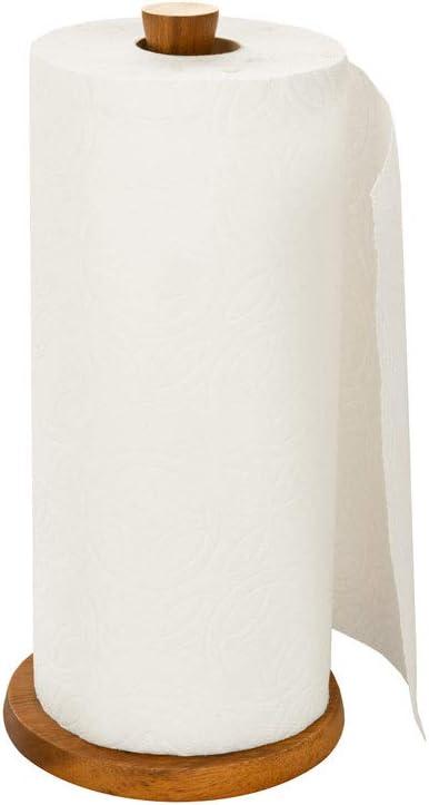 Villa Acacia Wood Paper Towel Holder, Rustic Wooden Design for Kitchen Countertop