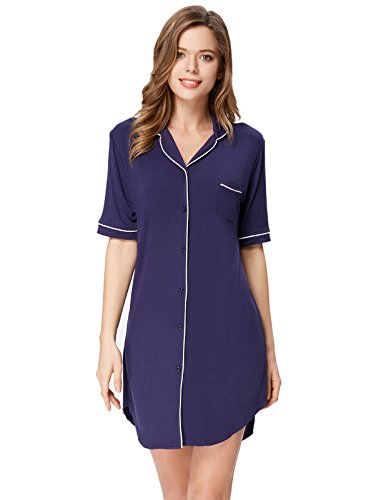 Zexxxy Women's Plus Size Pajamas Nightshirt Pan-Collar Thermal Top Navy Blue XXL
