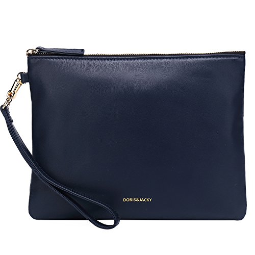 Soft Lambskin Leather Wristlet Clutch Bag For Women Designer Large Wallets With Strap (Blue) ()