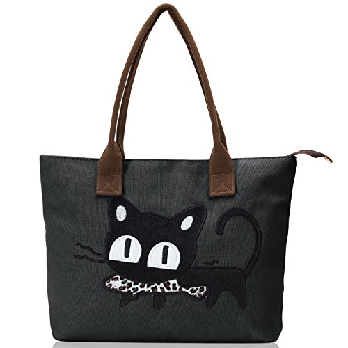 Trendy Canvas Tote Handbag Shoulder Bags for Women (Black) - 1