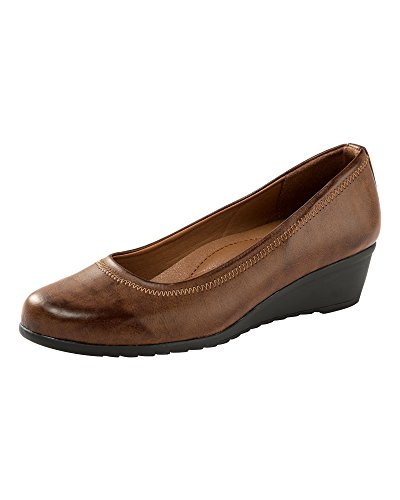 Cotton Traders Womens Ladies Wedge Shoes Classic Casual Cushioned Comfort D Fit Tan ZsgkWH9l