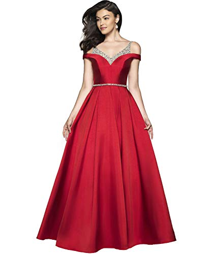 Women's Cold Shoulder V Neck A-line Long Evening Party Gown Satin Wedding Guest Prom Dress with Beaded Bodice Size 16 Red