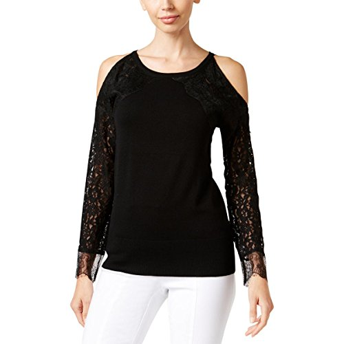 Thalia Sodi Womens Lace Ribbed Trim Sweater Black M - Lace Ribbed Sweater