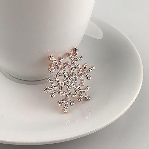 Crystal Winter Snowflake Flower Clear Rhinestone Elegant Chrismas Corsage Brooch Pin Golden