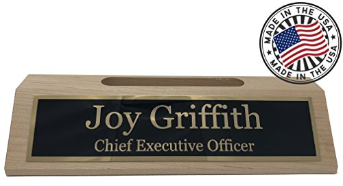 Personalized Business Desk Name Plate with Card Holder - Made in USA (Maple Wood)