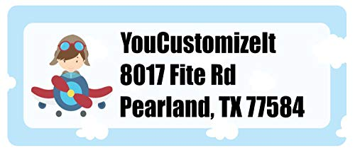 Airplane & Pilot Return Address Label (Personalized)