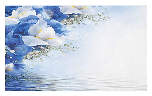 Dreamy Hydrangea (Ambesonne Blue and White Doormat, Blue Hydrangeas and White Irises Over The Sea Romantic Bouquet Dreamy, Decorative Polyester Floor Mat with Non-Skid Backing, 30 W X 18 L Inches, Blue White Yellow)