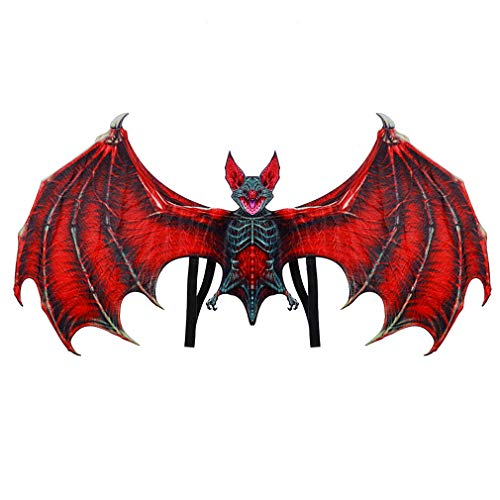 Make life wonderful Fancy Dress Ball Bat Cosplay Wings Prop Halloween Costume Party Charms Role Play Accessory (Red, L) ()