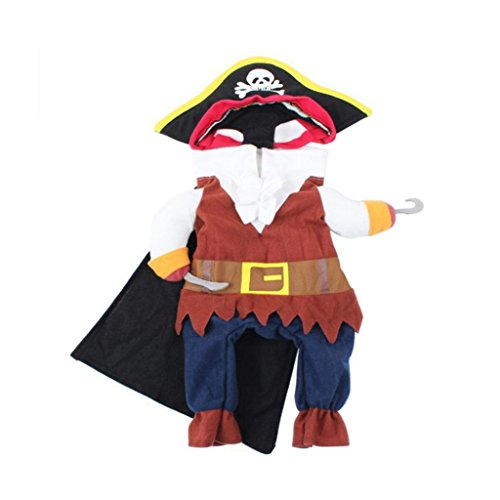 Angel3292 Pet Dog Pirate Costume with Two Feet Halloween Party Puppy Dressing Up Clothes size M (2' Dressing)
