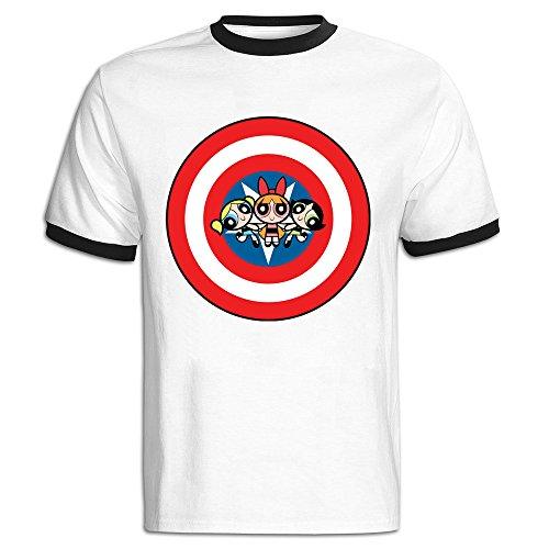 C-DIY Men's Color Block T Shirt Colors The Girls Cartoon XL Black