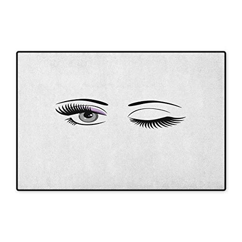 Eyelash,Door Mat Outside,Cartoon Style Dramatic Woman Eyes with Long Lashes Winking Flirting Gesture,Customize Door Mats for Home Mat,Lilac Grey Black,Size,16