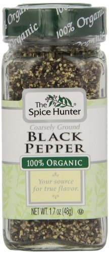 The Spice Hunter Pepper, Black, Coarse, Ground, Organic, 1.7-Ounce Jar