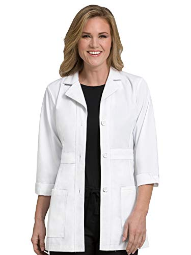 Med Couture Professional Women's Belted Mid Length Lab Coat White 2XL