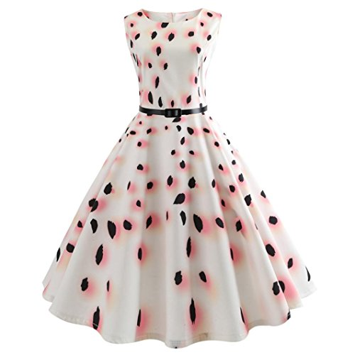 (Women Summer Dress,Todaies Women Vintage Bodycon Sleeveless Dress Casual Retro Evening Party Prom Swing Dress 2018 (L, Pink))