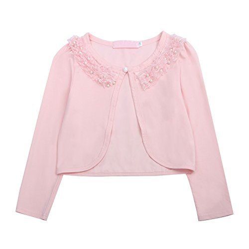 Acecharming girls Beaded Flower Bolero Jacket Shrug Short Cardigan Dress Cover Up,Pink,5-6