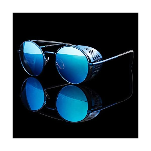 Metal Frame Side Shield Oval 52mm Hipster Round Sunglasses Vintage Retro Steampunk Gothic 5