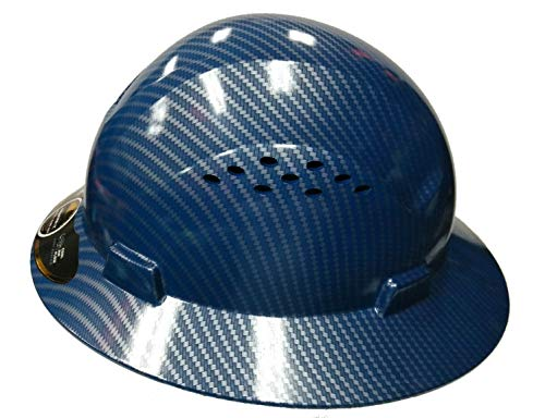 - HDPE-Hydro Dipped Blue/Silver Full Brim Safety Hard Hat with Fas trac Suspension