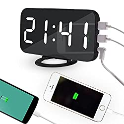 OOLIFENG Digital Alarm Clock, USB Charging, 6 Grades Adjustable Light, Mirror Clock Luminous Table Clock, White