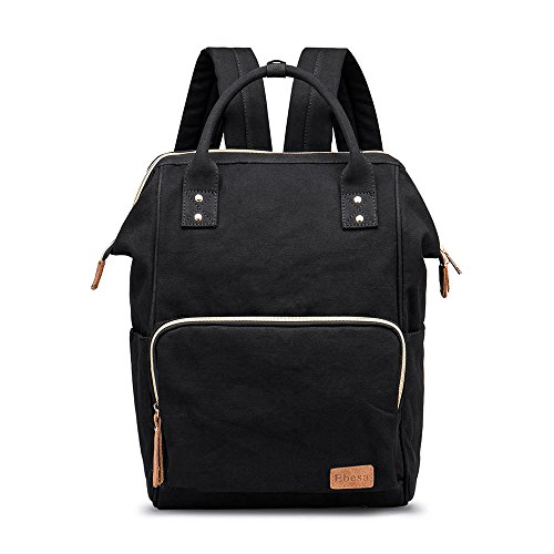 Multifunction Canvas Backpack Travel Bags for Man Woman Casual Laptop Rucksack (Semizipper Pocket x Black EB)