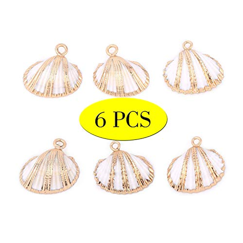 Wholesale 6PCS White Scallop Shells Pendant Small Ark Clam Sea Shell Charms Plated Real Gold Bulk for Jewelry Making Crafts