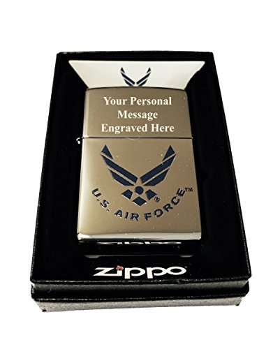 Zippo Custom Lighter - Blue U.S. Air Force Wings Primary Logo - High Polish Chrome with FREE Engraving