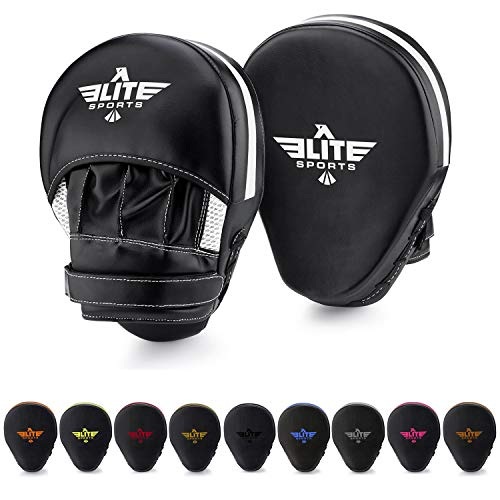 Elite Sports New Item Essential Curved Boxing, MMA, Kickboxing, Muay Thai, Sparring Punching Mitts, White (Punching Gear)