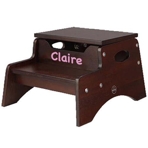 Claire Stool (KidKraft Personalized Child Stool, Color: Espresso, Name: Claire)