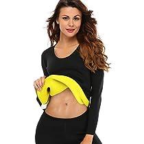 NINGMI Women Sweat Body Shaper Long Shirt Slimming Neoprene Sauna Weight Loss