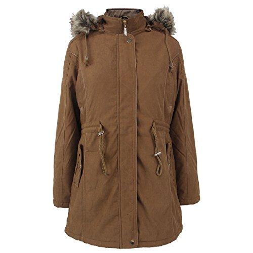 Tanbridge Women's Heavyweight Cotton Shell Coats Sherpa Fur Lined Parkas Anoraks with Detachable Hood for Winter Medium Mustard02 Cotton Lined Parka
