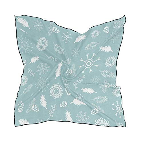 Women's Small Square Handkerchief,Snowflakes Branches Satin Ribbon Mulberry Neck Scarf Silk Scarves headband ()